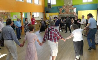 Culver City English Country Dance - dancers gathering peascods